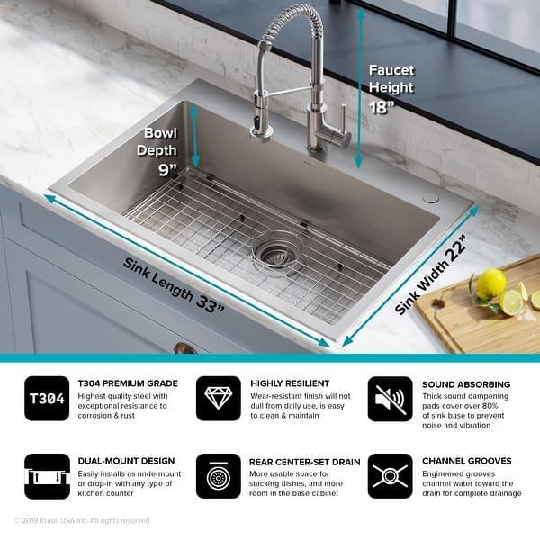 Shop Kraus Stark 33 Inch Undermount Drop In Kitchen Sink Pulldown Faucet Combo Overstock 28626044