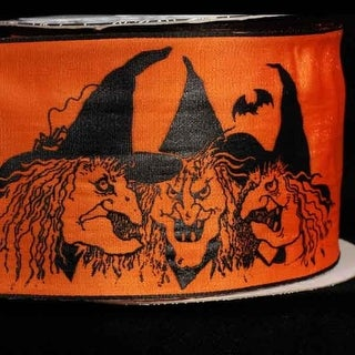 "Orange with Black Witches Print Wired Craft Ribbon 2.5"" x 20 Yards"