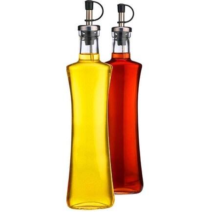 Palais Glassware Oil & Vinegar 12 Oz Clear Glass Dispenser Cruet Bottle, with Silver and Black Spout - Set of 2 - (Oval Shaped)