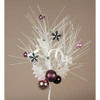 Pack of 12 White & Purple Long Needle Pine Spray w/Balls & Snowflakes 20""