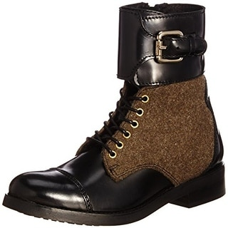 Diesel Womens Bartack Combat Boots Leather Buckle