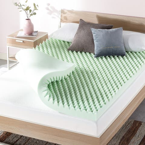 4 Inch Egg Crate Memory Foam Mattress Topper with Calming Green Tea Infusion