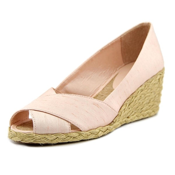 7e38ce9ea97 Shop Lauren Ralph Lauren Cecilia Women Open Toe Canvas Pink Wedge ...
