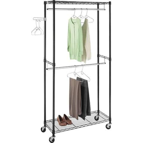 Whitmor 6070-3366-bb supreme doublerod garment rack - Black