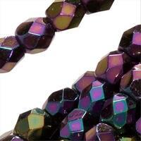 Czech Fire Polished Glass Beads 3mm Round Purple Iris (50)