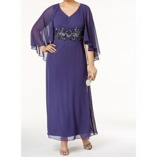 Alex Evenings NEW Purple Womens Size 16W Plus Capelet Gown Dress