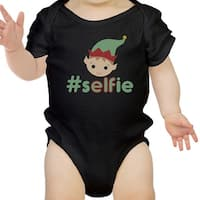 Hashtag Selfie Elf Funny Graphic Black Baby Bodysuit Baby Girl Gifts