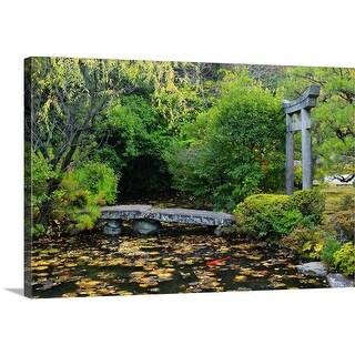 Premium Thick-Wrap Canvas entitled Torii and stone bridge over pond in zen garden, Konchi-in
