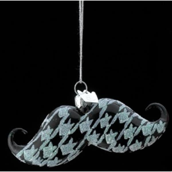"4"" Noble Gems Glass Black and White Houndstooth Pattern Handle Bar Mustache Christmas Ornament"