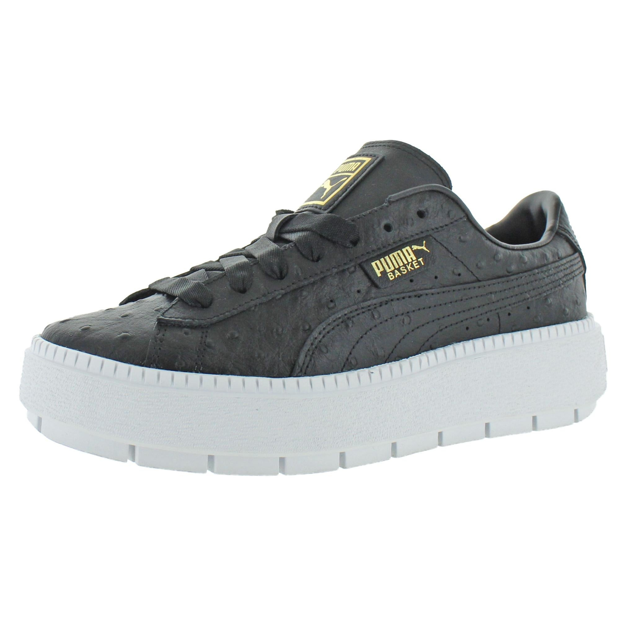 Puma Womens Platform Trace Ostrich Fashion Sneakers Leather Low-Top