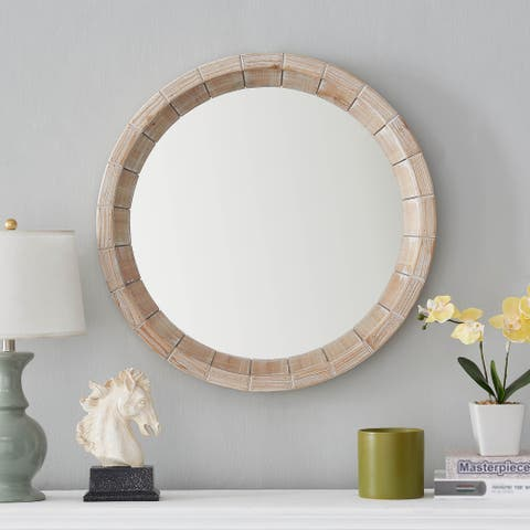Tropical Round Accent Wall Mirror - White Washed - One Size
