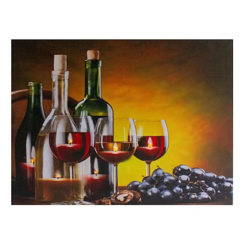 """LED Lighted Flickering Wine, Grapes and Candles Canvas Wall Art 15.75"""""""