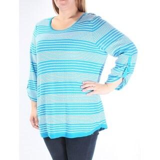 Womens Blue Striped 3/4 Sleeve Jewel Neck Sweater Size L