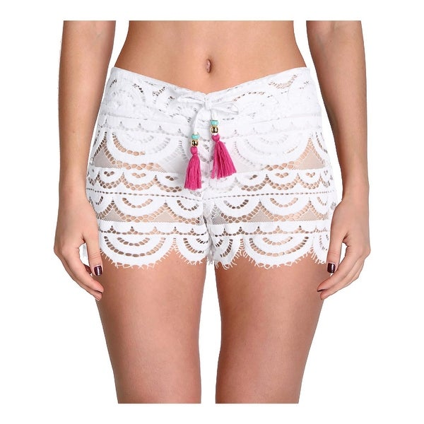 Shop PilyQ Womens Lexi Lace Scalloped Hem Shorts Swim Cover-Up - M L - Free  Shipping On Orders Over  45 - Overstock - 21475672 588d0ea47c