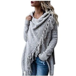Link to Women's Tassel Hem Sweater Long Cardigan Knitwer Pullover Poncho Coat Similar Items in Women's Sweaters