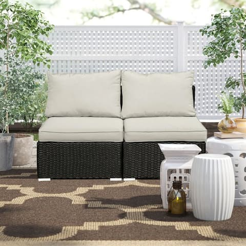 Ainfox 2 Pcs Patio Rattan Sofa Chair Outdoor Sectional Furniture with Washable Couch Cushion