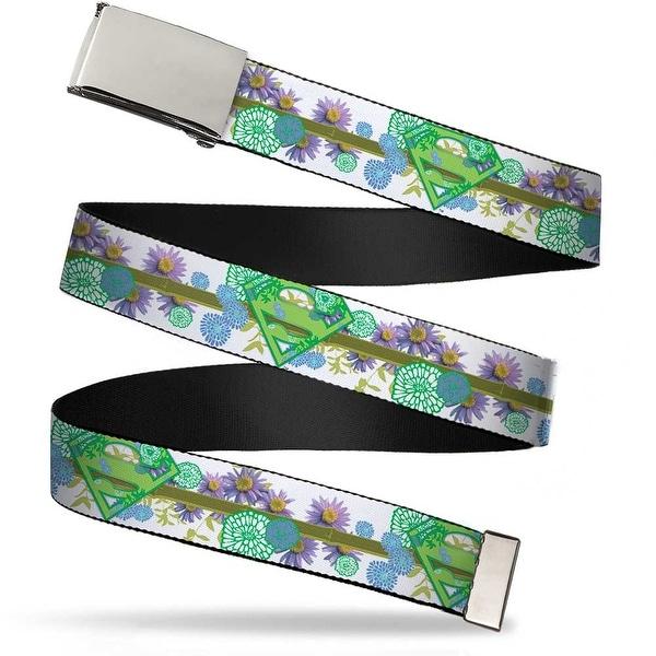 Blank Chrome Buckle Super Shield Floral Design White Greens Webbing Web Belt