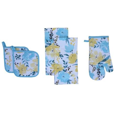 D.Franco Botanical Design Printed Cotton Value Set of Kitchen Towel, Pot Holder and Oven Mitten