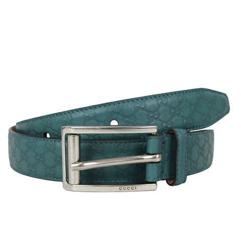 Gucci Men's Teal Leather Guccissima Metal Buckle Belt 281798 4715 (90 / 36)