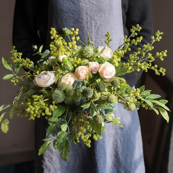 RusticReach Greenery White Rose Bouquet or Pottery Set