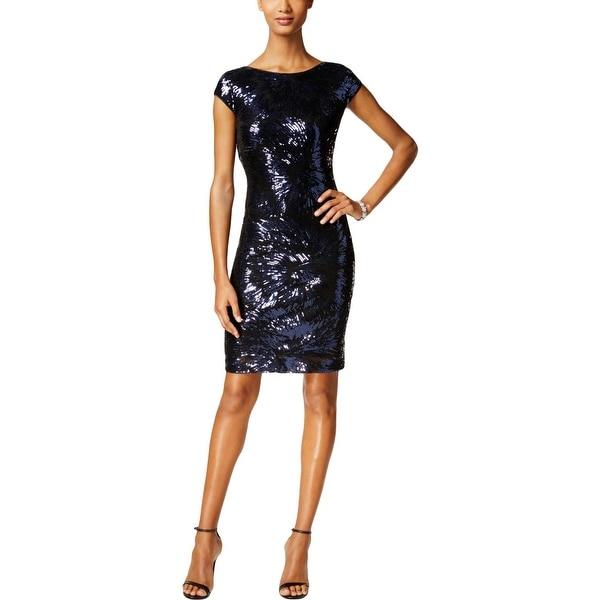 cdcda391b30 Shop SLNY Womens Cocktail Dress Sequined Cap Sleeve - Free Shipping ...