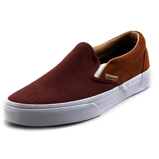 Vans Classic Slip On CA Men Round Toe Canvas Burgundy Loafer