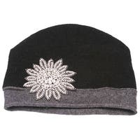 Womens Wool Winter Cuffless Beanies w/ Flower Crest