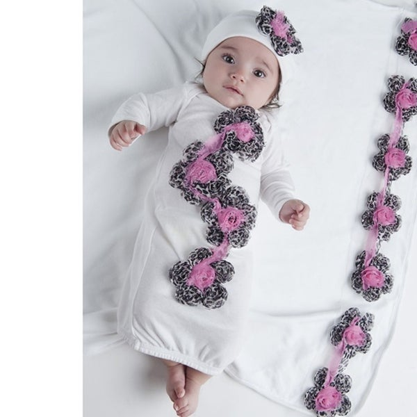 Tutu Moi Baby Girls Size 3M White Gathered Gown Leopard Flowers