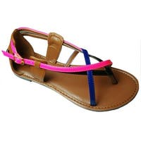 Qupid Women's Athena-549A Closed Back Colorblock Strappy Thong Flat Sandal - black patent pu