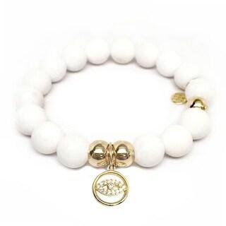 Julieta Jewelry Lucky Eye Charm White Jade Bracelet