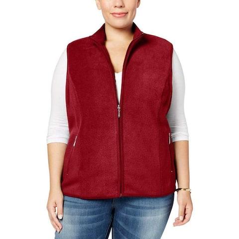 Karen Scott Women's Jacket Red 2X Plus Fleece Full-Zip Mock-Neck Vest