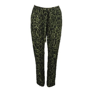 Michael Michael Kors Olive Python Print Drawstring Soft Pants M