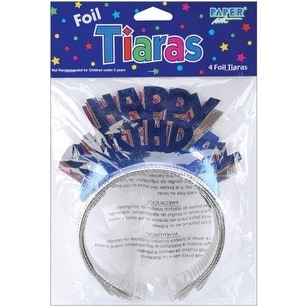 Happy Birthday Foil Tiara 4 Pack