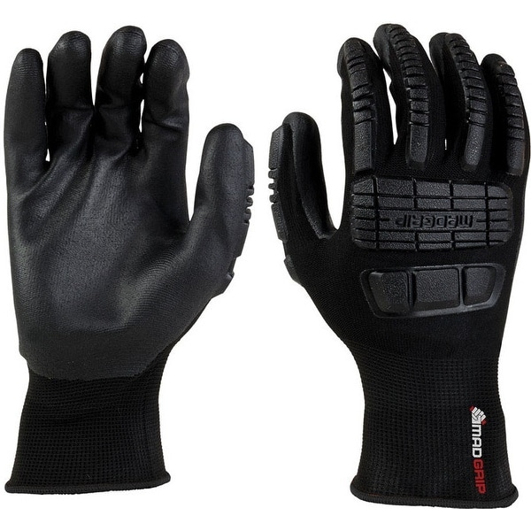 MadGrip 0MG14F5 BLK L Ergo Impact Work Gloves, Large, Black