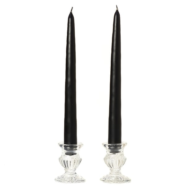 3 Pairs Taper Candles Unscented 12 Inch Black Tapers .88 in. diameter x 12 in. tall
