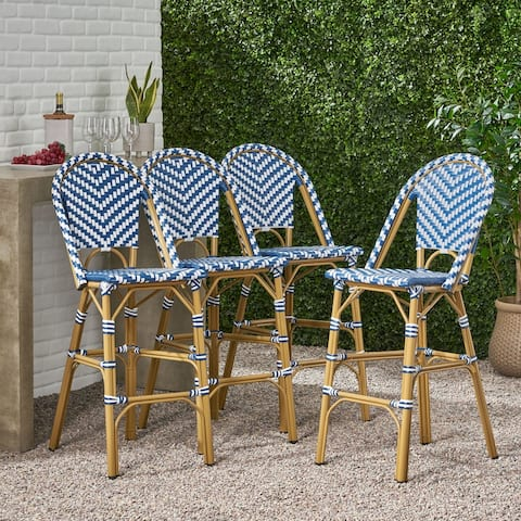 "Kinner Outdoor Aluminum French Barstools (Set of 4) by Christopher Knight Home - 18.00"" L x 23.75"" W x 46.00"" H"