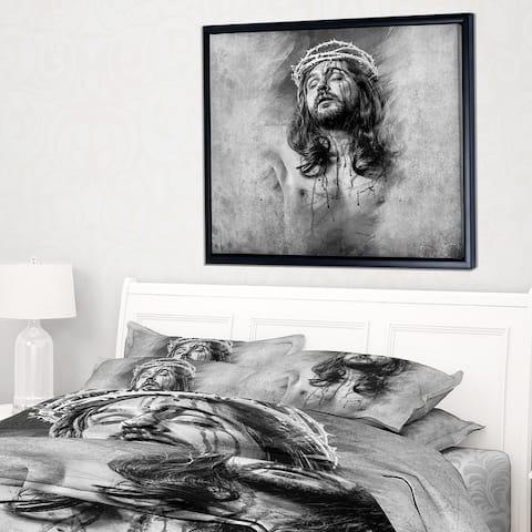 Designart 'Jesus Christ' Abstract Portrait Framed Canvas Print