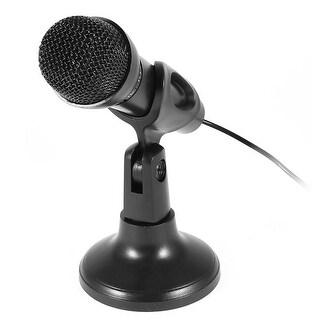 Unique Bargains Studio Speech 3.5mm Plug KTV Microphone Mic Black w Stand Holder