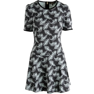 Juicy Couture Black Label Womens Gilded Plumes Ponte Printed Wear to Work Dress