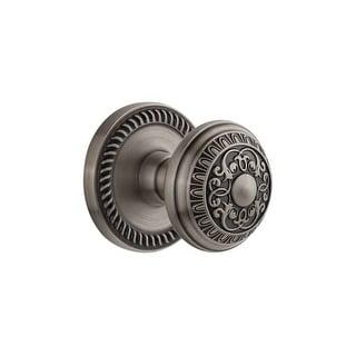 "Grandeur NEWWIN_PRV_234  Newport Solid Brass Rose Privacy Door Knob Set with Windsor Knob and 2-3/4"" Backset"