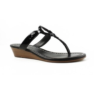 Bernardo Womens Matrixwedge BlackPatent Flip Flops Size 5