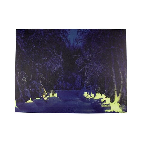 """LED Lighted Nighttime in the Woods Winter Scene Canvas Wall Art 11.75"""" x 15.75"""""""