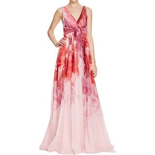 ML Monique Lhuillier Womens Formal Dress Chiffon Floral Print - 12