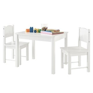 Wooden Kids Table Sturdy and Entertainment Table Set With 2 chairs White
