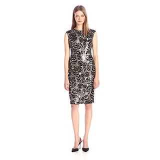 Vince Camuto Women's Extended Cap Sleeve Bodycon Dress, Black/Nude, 8