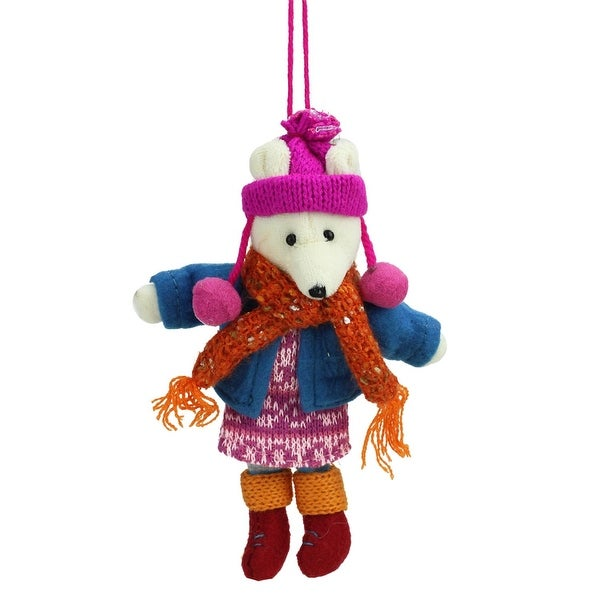 "6.25"" Bohemian Holiday Plush Polar Bear Girl with Dangling Legs Christmas Ornament"