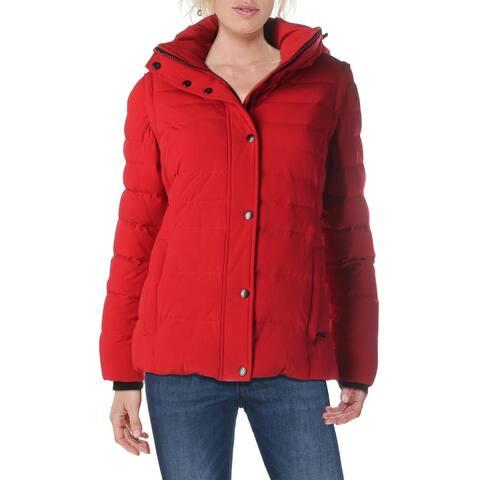 Andrew Marc Womens Calli Puffer Coat Convertible Down - Red