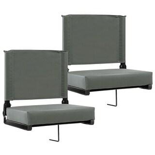 Costway2 PCS  Portable Folding Padded Stadium Seat Bleacher Sports Grandstand Back Chair Gray