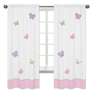 Link to Sweet Jojo Designs Pink, Purple, Yellow, Sage Green and White Butterfly Collection 84-inch Window Treatment Curtain Panel Pair Similar Items in Window Treatments