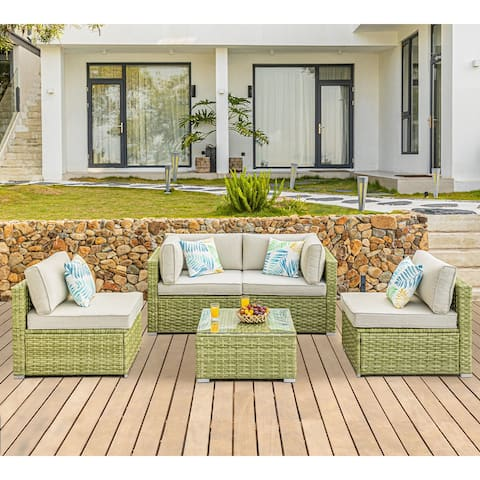COSIEST Patio Furniture 5 Piece Light Olive Wicker Sectional Sofa Set